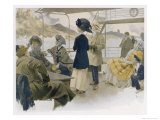 With Their Hats Secured to Their Heads by Scarves Sightseers Giclee Print by Rene Lelong