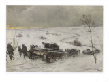 German Tank Column Accompanied by Infantry Advances into Russia Giclee Print by Schnurpel