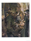 Jolly German Girl Offers Refreshments to German Troops at a Railway Station Giclee Print by Paul Rieth