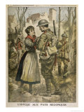WWI, British Soldier is Greeted by a Young French Woman Reproduction procédé giclée par C. Jankowski