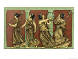 Four Female Dancers: Each Carries a Thyrsus and One a Tambourine as Well Giclee Print by Edouard Leon