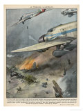 The Italians Bomb Ethiopian Air-Base Gicleetryck av Vittorio Pisani