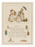 Three Greenaway Girls and Their Dolls One in a Cart Giclee Print by Kate Greenaway