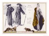 Marten Fur Cloak and Ermine Hat with Head Otter Coats Giclee Print by Jacques Nam