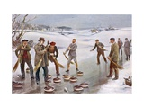 An Exciting Finish to a Curling Match in Scotland Giclee Print by J. Michael