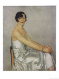Lady with Short Dark Hair Wearing a Skimpy Dress in White Silk or Satin Giclee Print by Clement Serveau