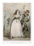 Sarah Siddons Actress Rehearsing in the Green Room with Her Father Roger Kemble Giclee Print by Thomas Rowlandson