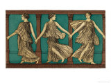Three Female Dancers Link Hands Giclee Print by Edouard Leon