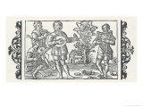 Piper Performs with Players of Three Types of Stringed Instruments, a Rebec a Lute and a Harp Giclee Print by Olaus Magnus