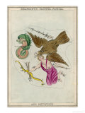 The Arrow Constellation Showing Antinous Being Attacked by an Eagle and Also Including a Dolphin Giclee Print by Sidney Hall