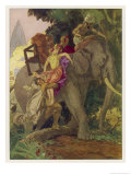 Le Tour du Monde En 80 Jours' Passepartout Lifts Aouda onto the Elephant Giclee Print by Auguste Leroux