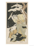 On a Dark and Stormy Night an Old Hag Raises Her Arm to Stab Young Girl Giclee Print by Shunsho