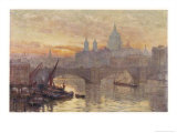 Southwark Bridege with Boats Giclee Print by Herbert Marshall
