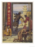 Around the World in Eighty Days: Phineas Fogg Leaves Passepartout Asleep in an Opium Den Giclee Print by Auguste Leroux