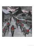 The Red Guard, the Communists Depicted as a Pack of Wolves Ravening with Glowing Eyes Giclee Print by Carl O. Petersen