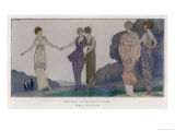 5 Elegant Evening Dresses by Doeuillet Seen by Moonlight, The Newly Fashionable Tunic or Overskirt Reproduction procédé giclée par Andre Marty