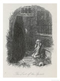 Scrooge is Shown His Tomb Stone by the Last Spirit Giclee Print by John Leech