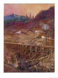 Building a Trestle Bridge Giclee Print by E.p. Kinsella