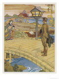 Around the World in 80 Days: Passepartout Wanders Through the Outskirts of Yokohama Giclee Print by Auguste Leroux