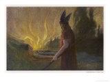 Wotans Abschied Wotan's Farewell to Brunnhilde Giclee Print by Hermann Hendrich
