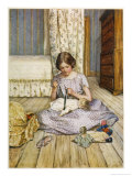 Beth Dresses One of Her Dolls Giclee Print by Millicent E. Gray