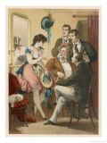 Four Gentlemen are Entertained by an Actress in Her Dressing Room Giclee Print by D. Eusebio Planas
