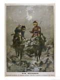 Two Cossack Women Rescue Wounded Soldiers from the Battlefield Carrying Them Reproduction procédé giclée par C. Jankowski