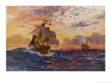 Vasco Da Gama's Ships off the Coast of Africa on Their Way to the Indies Giclee Print by O. Rosenvinge