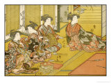 Japanese Ladies Practising Shooting with the Crossbow Indoors Giclee Print by Katsugawa Shunsho