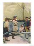 An American Privateer Captures a British Vessel Giclee Print by Howard Pyle
