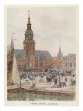 Cheese Market in the Town Square Alkmaar Giclee Print by Herbert Marshall