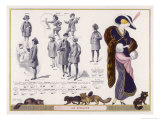 Sable Fur Scarf Dress with White Fur Cuffs and a Fur Trimmed Hat Giclee Print by Jacques Nam