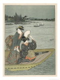 Japanese Ladies Boating Giclee Print by Hishigawa Moronobu