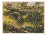 German Horse-Drawn Artillery Moving to Fresh Positions During a Bombardment Giclee Print by V. Mundorff