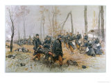 As He is Carried on a Stretcher by His Comrades a Dying French Soldier Makes His Last Salute Premium Giclee Print by Georges Scott