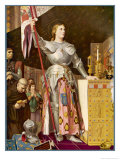 Jeanne d'Arc Depicted Looking Very Heroic in Armour While Priests Pray All Around Her Giclee Print by Jean-Auguste-Dominique Ingres