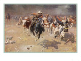 Cowboys Trying to Check a Cattle Stampede Giclee Print by W.r. Leigh