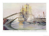"The French Warship ""Le Bon"" in Action Against 32 Spanish Galleys Giclee Print by Albert Sebille"