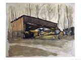 German Monoplane is Cunningly Hidden Away Amongst the Trees at an Airfield Giclee Print by Heinrich Kaiser