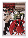 Komsomol Members Fight for the Bolshevik Reconstruction of Transport! Giclee Print by Alexei Kokorekin