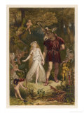 A Midsummer Night's Dream, Act IV Scene I: Bottom and Titania Premium Giclee Print by Joseph Kronheim
