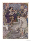 Minstrel Entertains the Company in a Norman Hall Gicleetryck av Evelyn Paul
