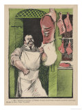 Paris Butcher Stands in His Shop Doorway Giclee Print by Sancha