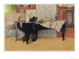Young Member of the Larson Household Does Her Piano Practice While Papa Paints Her Giclee Print by Carl Larsson: