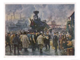 Rail Strike in Support of Reform Demands Giclee Print by G. Savitsky