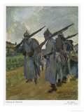 German Soldiers Relieve the Night Watch Giclee Print by Paul Segieth