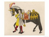 Horse Caparisoned (Dressed in Elaborate Harness Equipment) in Preparation for a Tournament Giclee Print by Henry Shaw