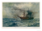 Engagement Between the Federal Steam-Sloop Kearsarge and the Confederate War-Steamer Alabama Giclee Print by Robert Hopkin