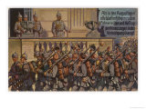Kaiser Wilhelm II Watches from a Balcony as German Infantry Giclee Print by C. Schmidt