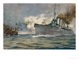 "The German Warship ""Karlsruhe"" Sinks a French Sailing Ship in the Atlantic Giclee Print by Hans Rudolf"